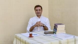 Turkish presidential candidate Selahattin Demirtas, pictured in prison in Edirne in May 2018, in a handout photo provided by the pro-Kurdish Peoples's Democratic Party (HDP)