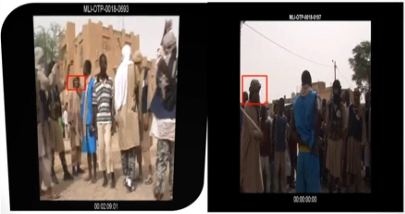 Al Hassan allegedly taking part in a flogging for the consumption of alcohol in a slide displayed by ICC prosecutors, 14 July 2020.