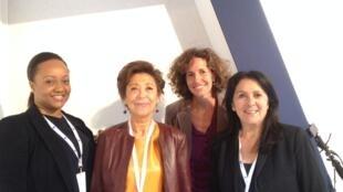 Les invitées de 7 milliards de voisins au Women's Forum de Deauville. De g. à d. : Noushka Teixeira, Murielle de Saint Sauveur et Elisabeth Byrs.