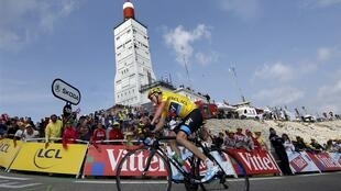 This year's tour de France winner Chris Froome climbs Mont Ventoux