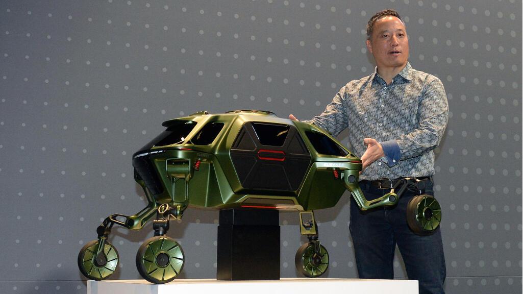 Lors de la présentation de la maquette de Hyundai au CES de Las Vegas aux Etats-Unis.