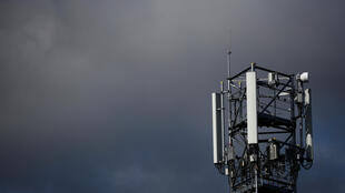 Transmitting antennas are seen on a mobile-phone network relay mast in Le Loroux-Bottereau France