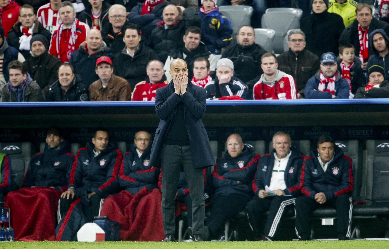 O técnico do Bayern, Pep Guardiola, em partida contra o Arsenal, no dia 11 de março.