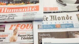Primeira páginas dos diários franceses de 7/08/2015