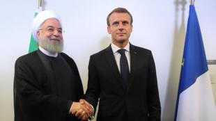 حسن روحانی رئیس جمهوری اسلامی ایران با همتای فرانسوی خود، امانوئل ماکرون  - تصویر آرشیوی