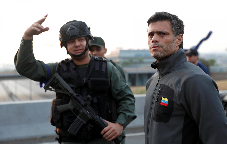 Leopoldo López en la Base Aérea de La Carlota, situada a las afueras de Caracas, este 30 de abril de 2019.