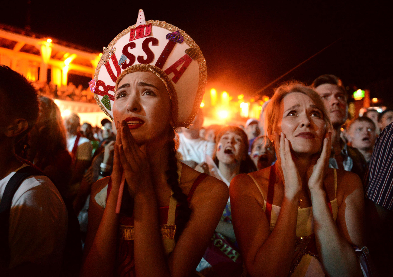 Jogo da Rússia contra a Croácia foi acompanhado por torcedores em todo o país.