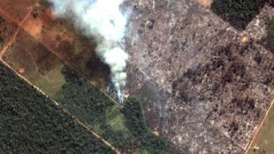 Une image satellite montre la fumée qui monte de feux de forêt amazonienne dans l'État de Rondonia, le 15 août 2019.