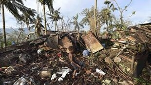 Homes destroyed by the cyclone Pam in Port Villa, Vanuatu, Pacific Island, 16 March 2015.