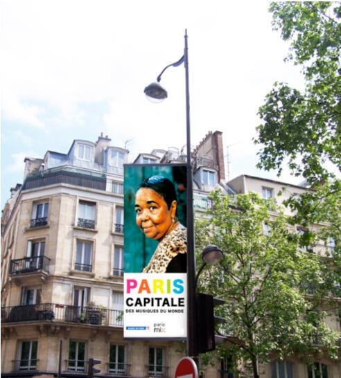 Cartaz do festival música do mundo nas ruas de Paris.