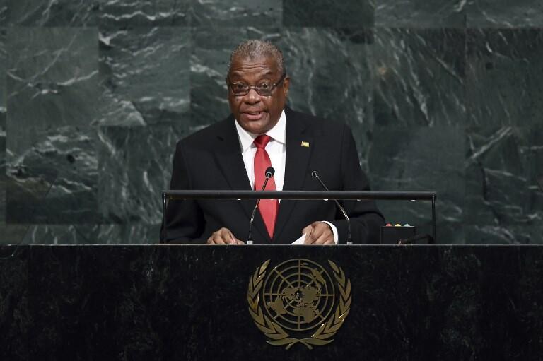 Evaristo Carvalho, Presidente de São Tomé e Príncipe, na Assembleia Geral da ONU. 21 de Setembro de 2017.
