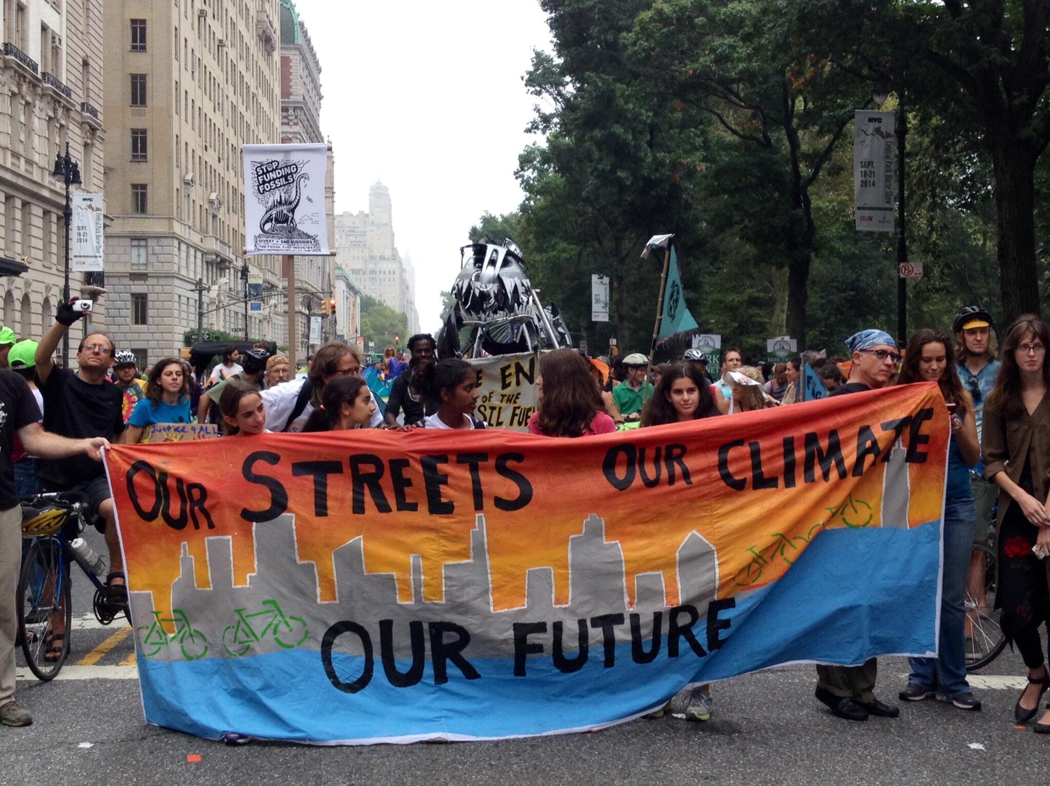 Manifestation à New York le 22 septembre 2014, à la veille du sommet de l'ONU sur le climat.