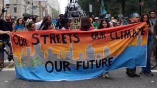 Manifestation à New York, le 22 septembre 2014, à la veille du sommet de l'ONU sur le climat.