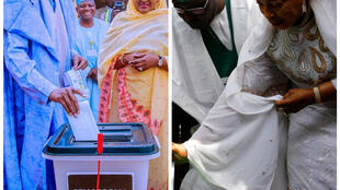 Nigeria President, Muhammadu Buhari of APC and his main challenger casting their votes during Sartuday's Presidential election. 23/02/2019.