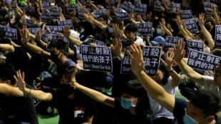 Người biểu tình tập hợp tại Thuyền Loan (Tsuen Wan - Hồng Kông). Ảnh chụp ngày 02/10/2019.