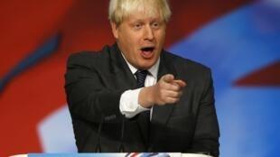 Boris Johnson, le maire de Londres lors de son discours au congrès du parti conservateur britannique à Birmingham, le 9 octobre 2012.