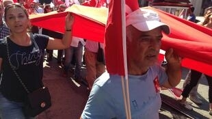 Supporters of Turkey's secular opposition party CHP arrive at Sunday's rally in Istanbul