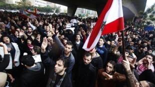 Manifestation à Beyrouth, le 27 février 2011.