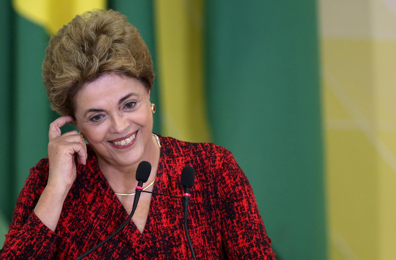 Dilma Rousseff, lundi 9 mai 2016, au palais présidentiel à Brasilia.