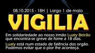 """Vigília em Luanda a 8 de Outubro em solidariedade para com Luaty Beirão e para exigir """"Liberdade Já"""" para os presos políticos"""