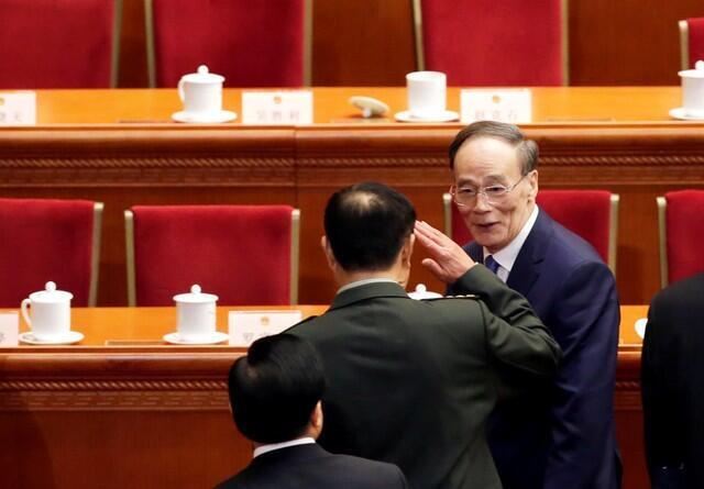 Ông Vương Kỳ Sơn (P), người được coi là sẽ trở thành phó chủ tịch Trung Quốc, phiên khai mạc Quốc Hội Trung Quốc, Bắc Kinh, ngày 05/03/2018.