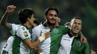 Festa dos jogadores do Sporting CP frente ao Paços de Ferreira. Vitória 3-1 dos sportinguistas.