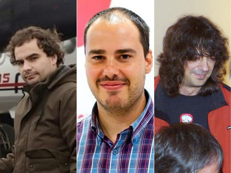 Os três jornalista espanhóis libertados na Síria (da esquerda para a direita): Ángel Sastre,  Antonio Pampliega e José Manuel López.