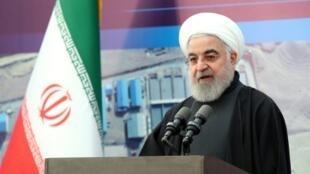 El presidente Hasán Rohani, el 28 de enero de 2020, en un acto público en Teherán