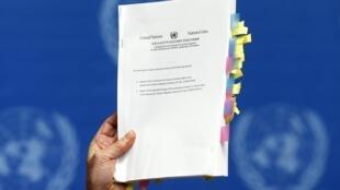Bản báo cáo dày 372 trang do ông Michael Kirby, trưởng ban điều tra về nhân quyền tại Bắc Triều Tiên công bố trong cuộc họp báo tại trụ sở Liên Hiệp Quốc ở Genève ngày 17/02/2014.