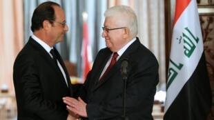 Tổng thống Pháp François Hollande (trái) hội kiến Tổng thống Irak Fouad Massoum tại Bagdad, 12/09/2014