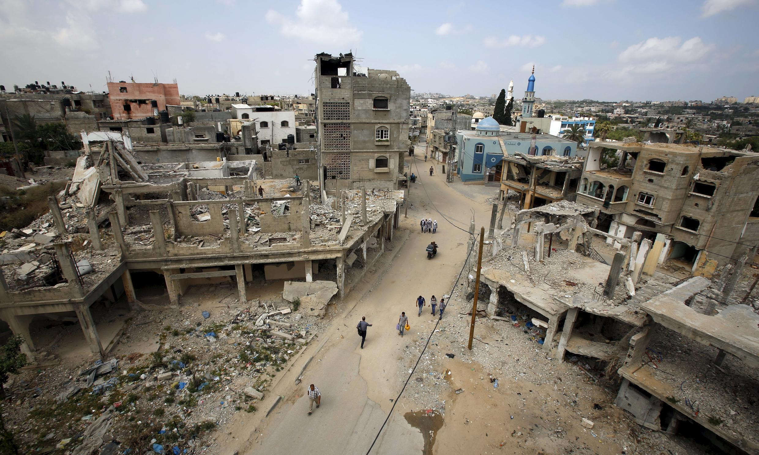 Ruins of houses in Beit Hanoun in the northern Gaza Strip.