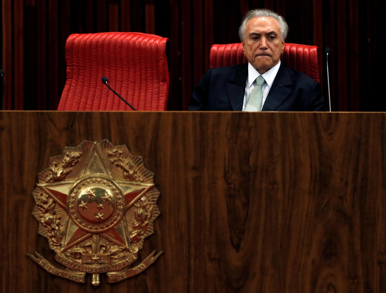 Michel Temer, em Brasília, no dia da posse do governo interino.