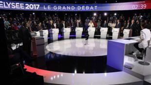 Toàn cảnh cuộc tranh luận giữa 11 ứng cử viên tổng thống Pháp 2017 trên kênh BFM TV và CNEWS, 04/04/2017.
