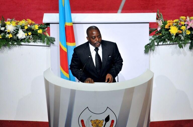 Rais wa DRC, Joseph Kabila akihutubia wabunge wa bunge la kitaifa na lile la Seneti, 15 Decemba 2012