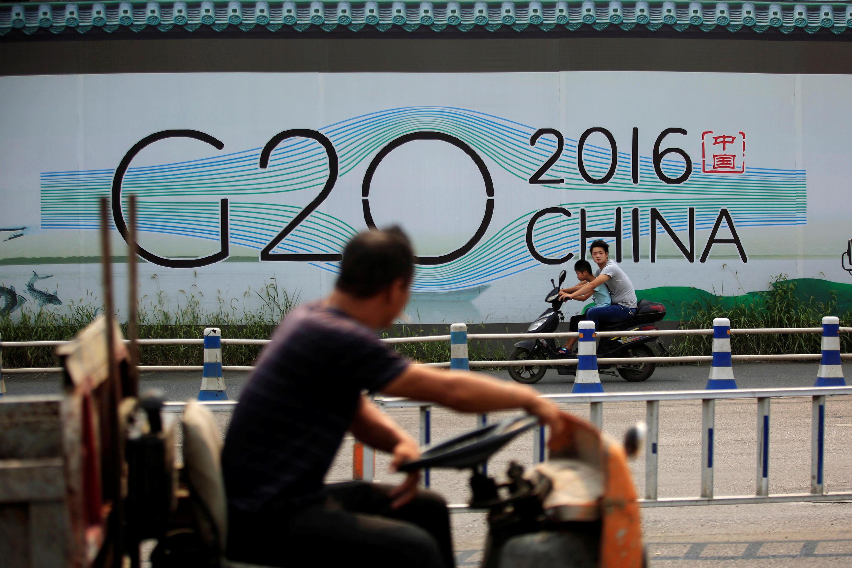 杭州街頭的二十國峰會海報。攝於2016年7月29日。