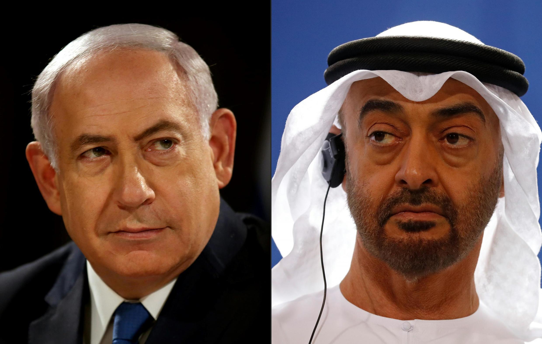 امارات متحد عربی و اسرائیل برقراری مناسبات عادی میان خود را اعلام داشتند ـ محمد بن زاید آل نهیان، ولیعهد امارات (سمت راست)، و بنیامین نتانیاهو، نخست وزیر اسرائیل (سمت چپ)