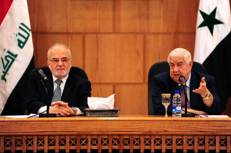 ولید معلم و ابراهیم جعفری، وزرای امورخارجه سوریه و عراق، روز دوشنبه در دمشق