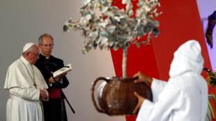O  Papa Francisco celebra em Villavicencio a missa pela reconciliação nacional na Colômbia.08 de Setembro  de 2017