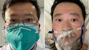 Images du docteur Li Wenliang, officiellement décédé hier dans un hôpital de Wuhan.