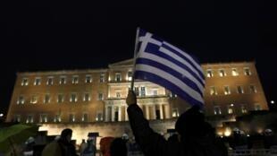 Manifestation anti-austérité devant le Parlement à Athènes, le 22 février 2012.