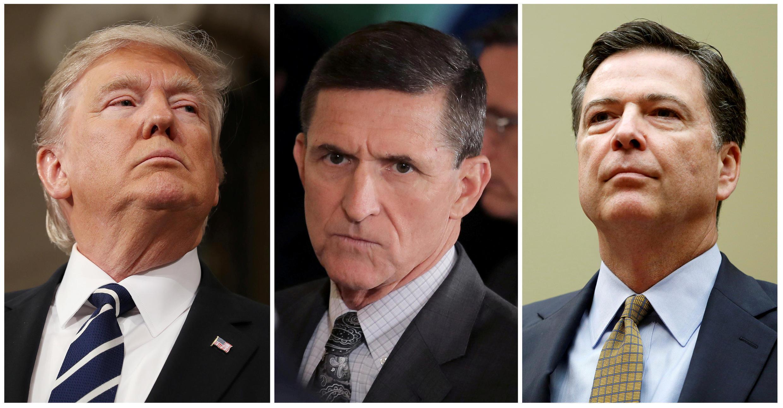 O presidente dos EUA Donald Trump, o ex-assessor de segurança Michael Flynn e o diretor afastado do FBI, James Comey