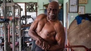 Bodybuilder A. Arokiasamy after training at his gymnasium in Teluk Intan in Malaysia's Perak state