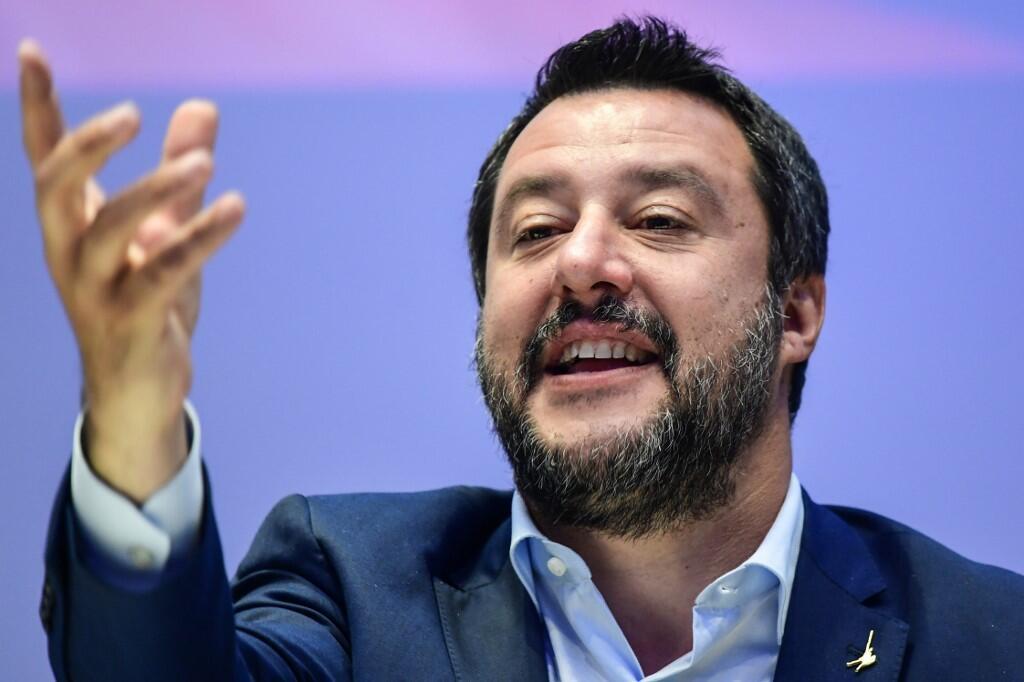 O ministro do Interior italiano Matteo Salvini, durante um encontro em Milão