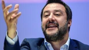 Matteo Salvini, ministro do Interior,  durante um comício em  Milão. Abril   2019