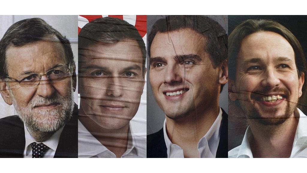 """El primer ministro español, el conservador Mariano Rajoy, el líder del Partido Socialista Pedro Sánchez, el centrista Albert Rivera de """"Ciudadanos y Pablo Iglesias del partido de izquierda radical """"Podemos"""". Malaga, España, 4 de diciembre de 2015."""