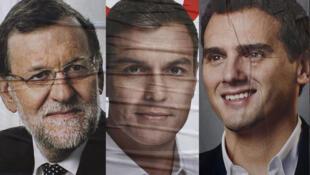 Os líderes dos quatro maiores partidos espanhóis, da esquerda para a direita: Mariano Rajoy (PP), Pedro Sánchez (PSOE), Albert Rivera (Cidadãos) e Pablo Iglesias (Podemos).