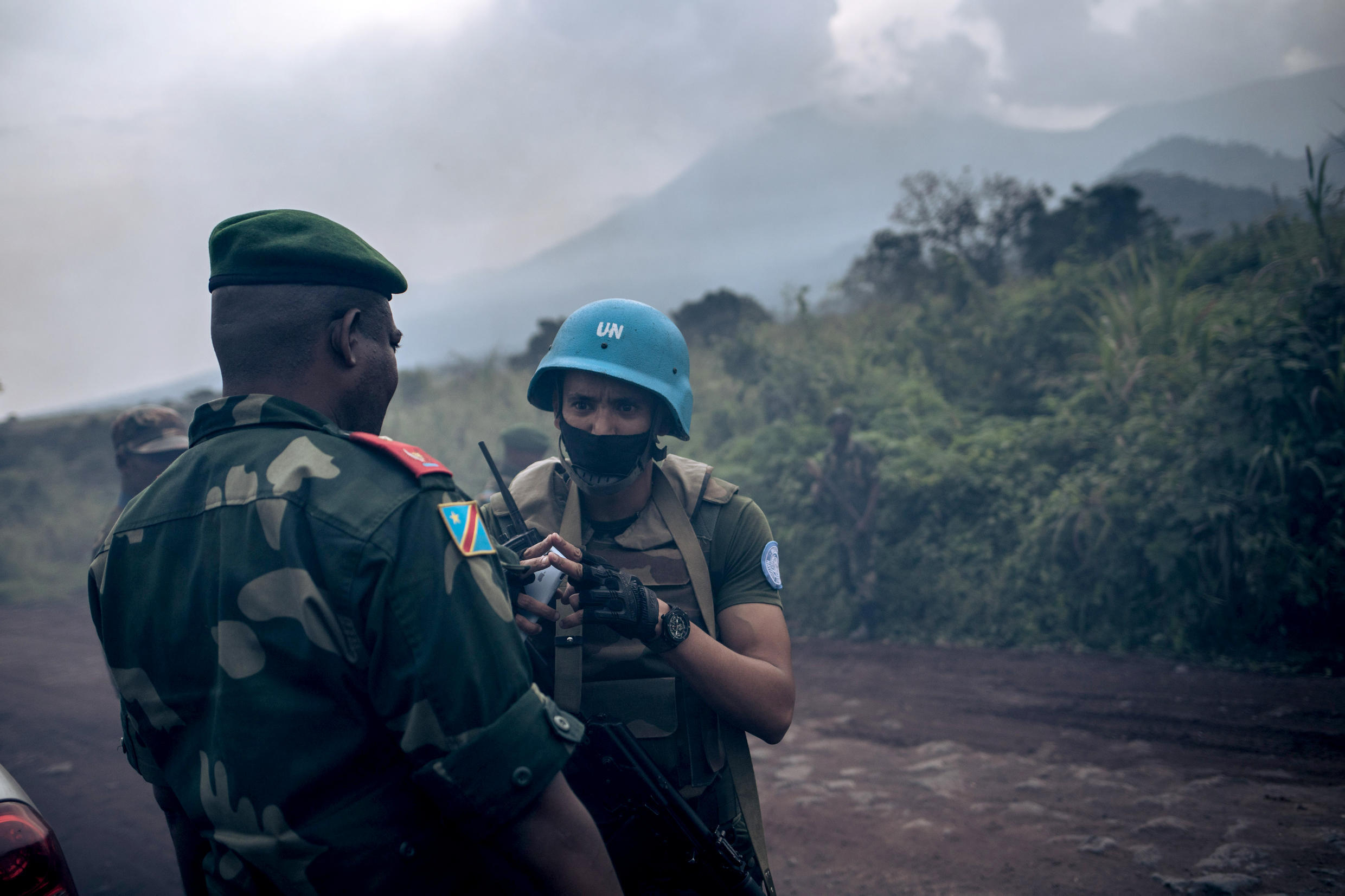 Congolese and UN forces secured the scene of the attack