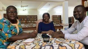 Miguel (34 ans), Christelle (25 ans) et Michel (32 ans) à Cotonou, février 2020.