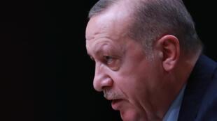 O presidente turco Recep Tayyip Erdogan na capital Ancara. Em 12 de abril de 2021.