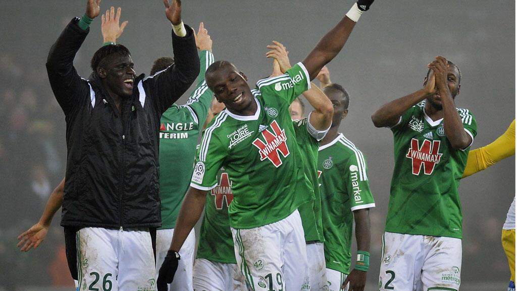 Les Stéfanois fêtent leur victoire face à Lyon, le 30 novembre 2014.